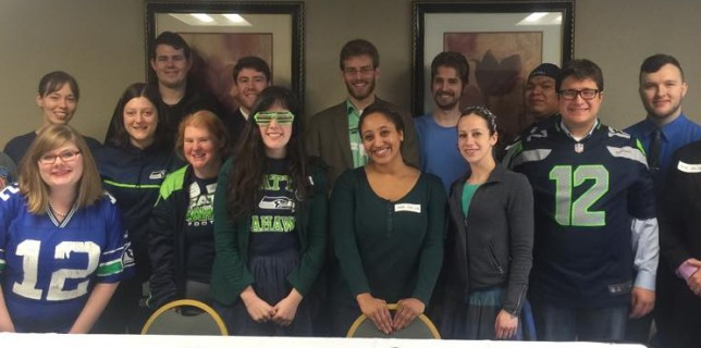 Young Democrats assemble with their Seahawks spirit at the February WSDCC meeting in Olympia.