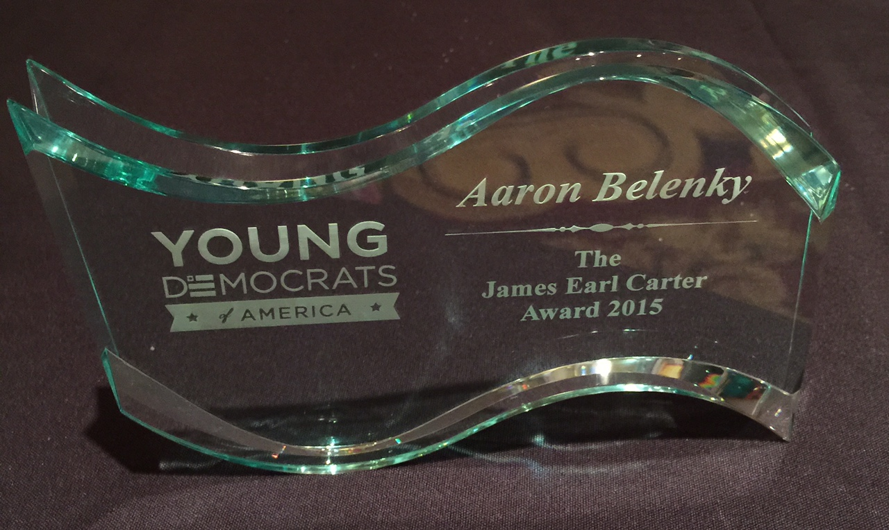 YDWA Past President Aaron Belenky was presented the James Earl Carter award for his work on voting rights.