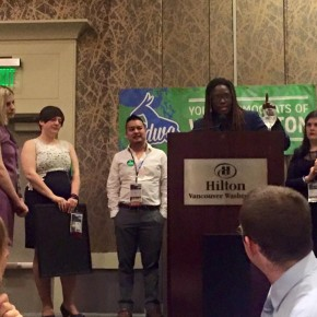 Young Democrats surprise YDWA President Lynda Foster with kind words and nice gifts