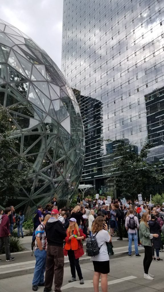 Crowd of protestors in front of Amazon spheres