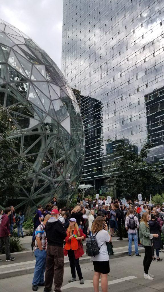 Crowd of protestors in front of Amazon spheres